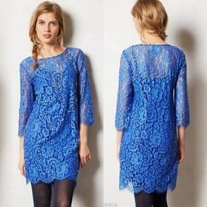 Anthropologie HD in Paris Overture Lace Dress Blue